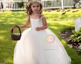 French Lace Flower Girl Dress, Tulle Tutu Flower Girl Dresses, Toddler Dress, Weddings