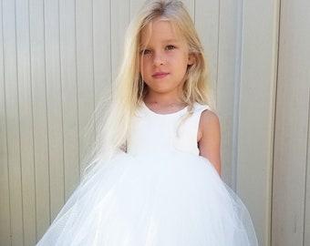 Elegant flower girl dress,ivory flower girl dress,ivory tulle dress,girls dress,Christmas dress,blessing dress,vintage style dress, formal