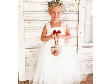 Pearl Flower Girl Dress, Tulle Tutu Dresses, Weddings, V Back Plunge, Flutter Sleeve, Full Length Dress, Toddler Dress, Pearls Embellished