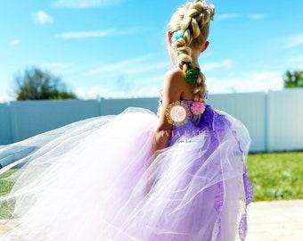 Rapunzel dress,girls dress,toddler dress,disney world outfit,tangled birthday,long princess dress,birthday dress,girls outfit,disney cosplay