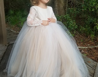 French Lace Sleeve Flower Girl Dress Floor Length Champagne Ivory Full