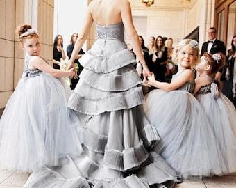 As Seen on Martha Stewart Weddings, Silver Flower Girl Dresses, Baby Wedding Dresses, Toddler Dress, Grey Tulle Tutu Flower Girl Dress