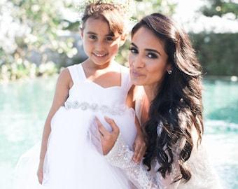 As Seen on Simply Sepi, Bridestory, StyleMePretty Flower Girl Dress Rhinestone Sash, Rhinestone Dress, Crystal Rhinestone