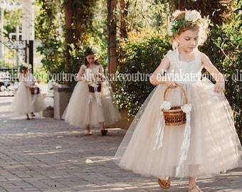 Champagne Flower Girl Tutu Dress
