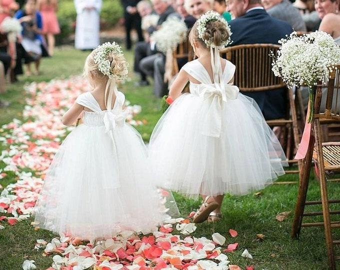 Flower Girl Dress, Ivory Tulle Tutu Wedding Dresses, Baby Princess Dress, Toddler Dresses, White Tulle Flower Girl Dress, Weddings