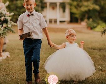 Baby Flower Girls Dress, Toddler Flower Girl Dress, Ankle Length Dress Baby, Princess Dress, Blessing Dress, White Flower Girl Dress, Ivory