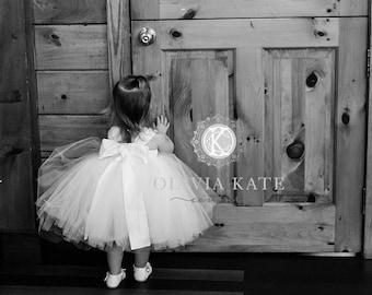 Knee Length Girls Dress,  Flower Girl Dress, flower girl dress white, toddler, flower girl dress ivory, flower girl tulle tutu, tutu dress