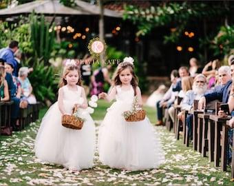 Handmade Flower Girl Dress, Ivory Tulle Tutu Wedding Dresses, Made in US, Toddler Dresses, White Tulle Flower Girl Dress, Weddings, USA made