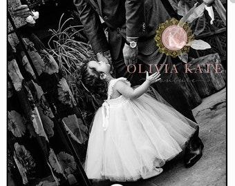 Pearl Flower Girl Dress, Tulle Tutu Dresses, Weddings, V Back, Flutter Sleeve, Full tutu Dress, Toddler Dress, Pearls Embellished, champagne