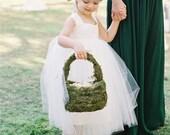 Ivory Flower Girl Ankle Length Dress, Flower Girl Dresses, Tulle Princess Baby White Dress, Toddler Flower Girls Dress, Wedding Tutu Baby