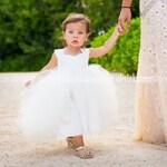 Ivory Flower Girl Dress, Tulle Tutu Princess Baby Lace White Dress, Toddler Flower Girls Dress, Wedding Dress Baby Tulle Tutu, Flower Girl