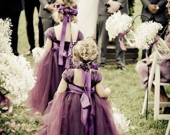 50d21031a Weddings - Girls Dresses - Hand made dress - Tulle Dress - Ivory Dress -Plum  Flower Girl Dress 6 7 8