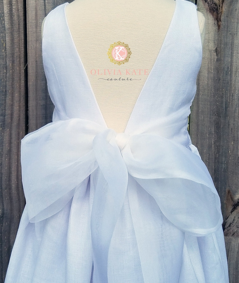 Made in USA Girls dress in white linen beach portraits image 0