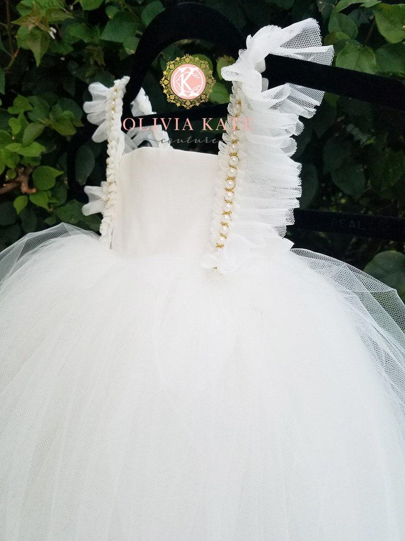 Pearl Flower Girl Dress Tulle Tutu Dresses Weddings V Back image 0
