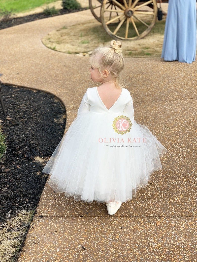 Handmade flower girl dress off white flower girl ivory tulle image 0