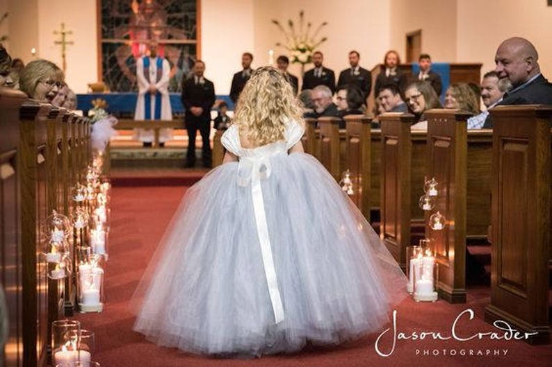 Weddings Full Tutu Tulle Dress Gray Flower Girl Dress Gowns Ivory Full Length Sash Fall Weddings Girls dress