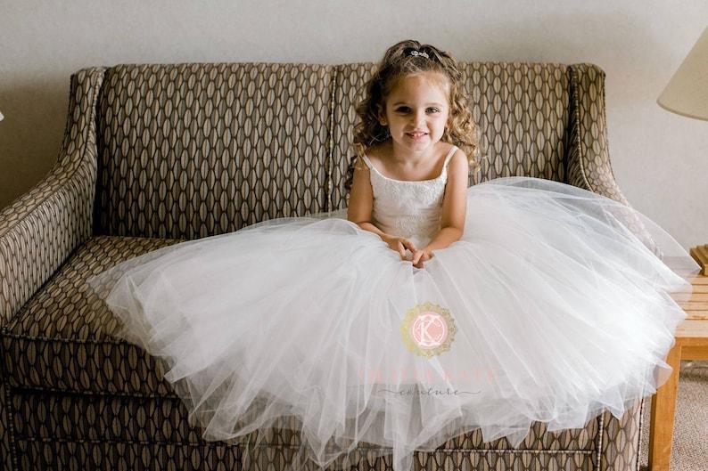 French Lace Flower Girl Dress Tulle Tutu Flower Girl Dresses image 0