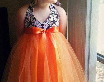 Custom Order for BrittsBows . 2 Tangerine Dreams Tutu Dresses . Flower Girls . OliviaKateCouture