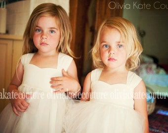 Flower Girl Dress, Ivory Flower Girl Dresses, Natural Cotton, Flower Girl Toddler, Ivory Baby Dress, Flower Girl Tulle, Flower Girl Tutu