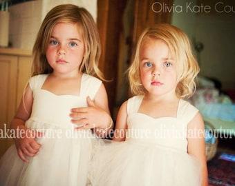 Natural Flower Girl Dress, Cotton Flower Girl Dress, Girls Minimalist Dress, Made in the USA, Handmade, Slow Fashion, Kids clothing, Girls