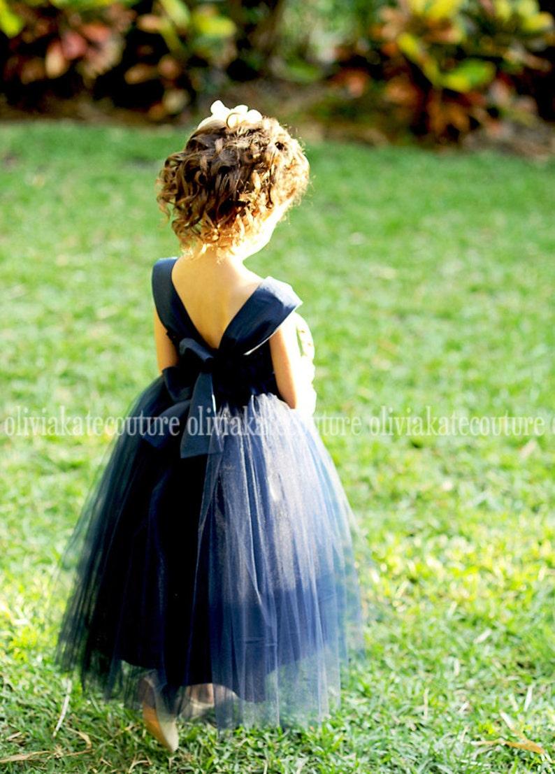Navy Flower Girl Dresses Flower Girl Tulle Dress Baby image 0