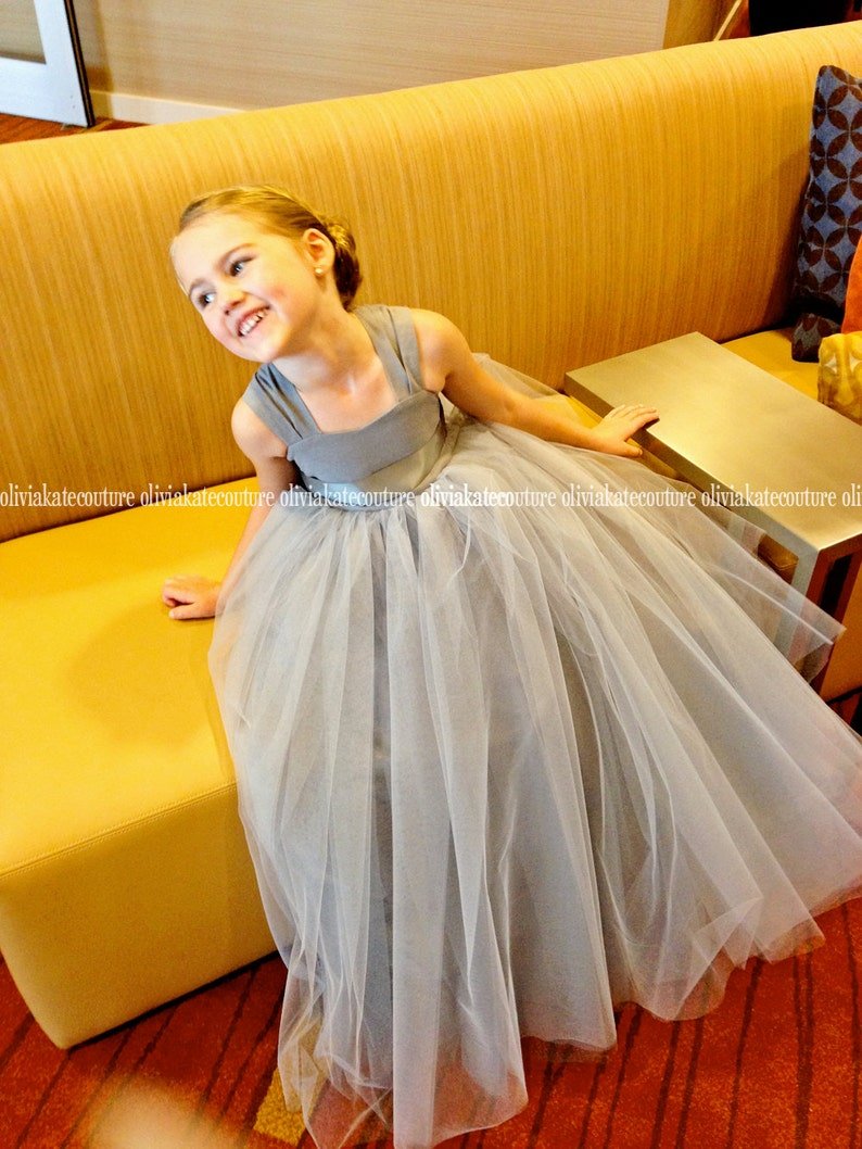 1db64afa977 Gray Silver Flower Girl Dress Full Length Flower Girl Dresses