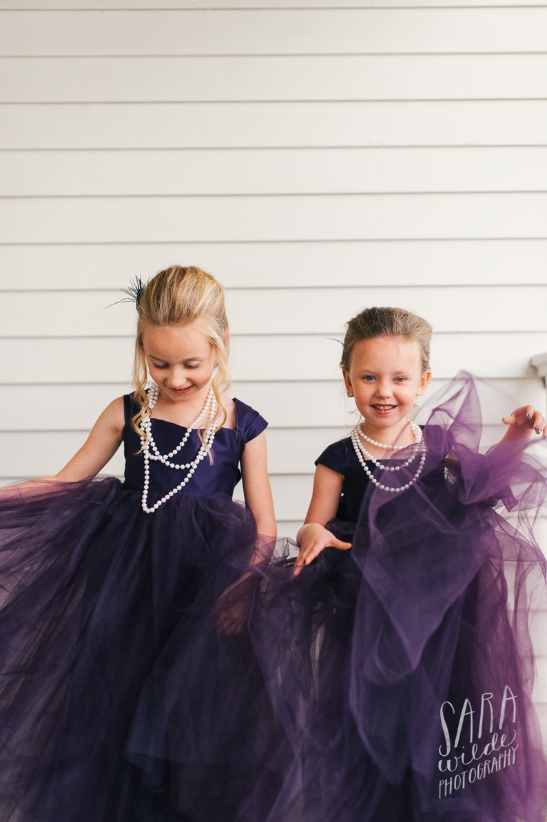 Plum Flower girl dress floor length flower girl dress tulle image 0
