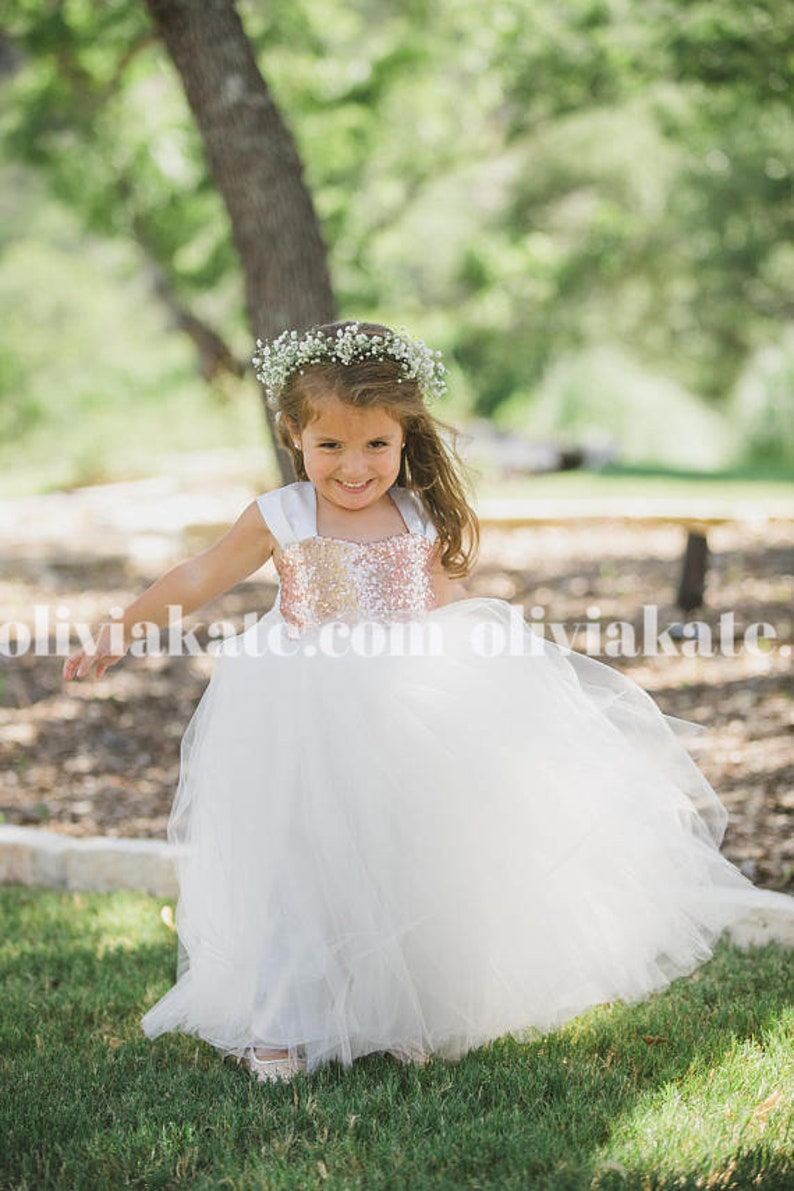 Gold Sequin Flower Girl Party Dresses Tulle Gown Formal image 0