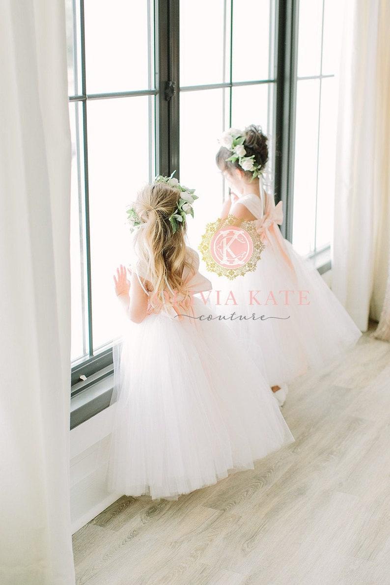 Blush Flower Girl Dress Toddler Tulle Tutu Wedding Dresses image 0