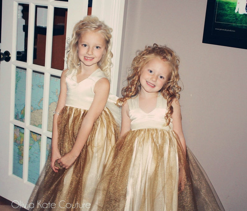 855dfd26aa Flower Girl Dresses Gold Shimmer Gold Tutu gowns Ivory