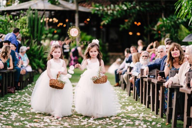 Handmade Flower Girl Dress Ivory Tulle Tutu Wedding Dresses image 0