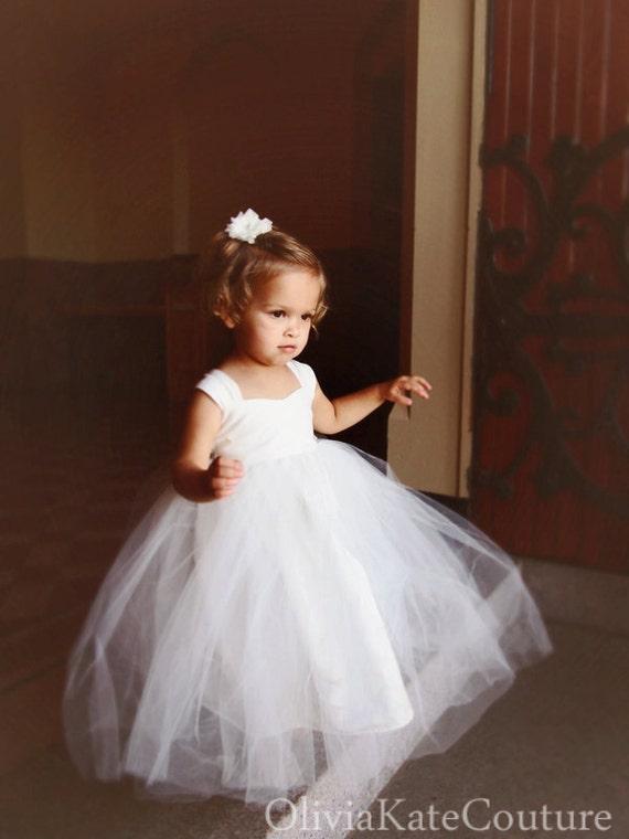 IVORY Flower Girl Dresses Tulle Tutu Princess Baby Lace White  7611b93ed3ac