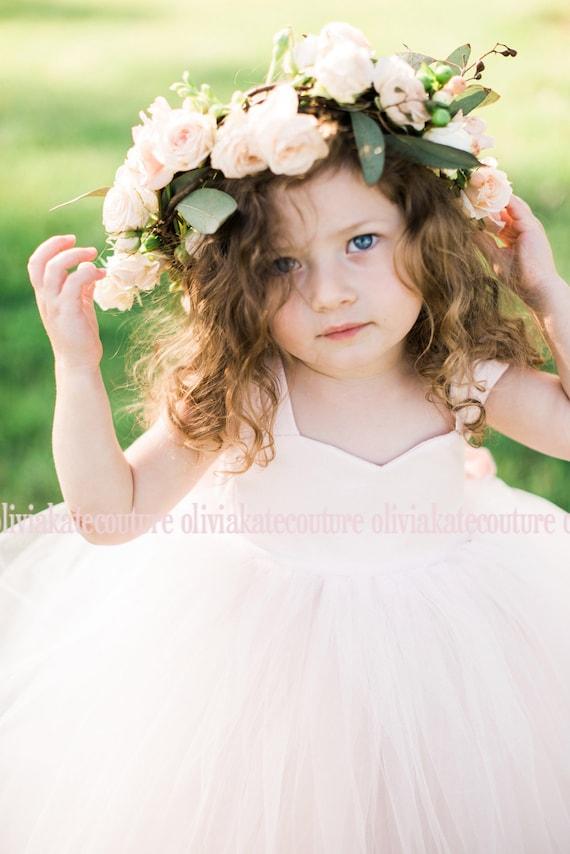 Blush flower girl dresses pink tulle tutu ivory white peach etsy image 0 mightylinksfo
