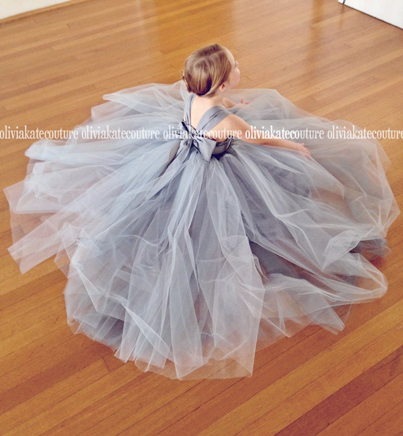 c4e6f00b258 Silver Flower Girl Dresses Flower Girl Tulle Gray Toddler
