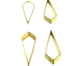 Raw Brass Geometric Diamond Drop Charms (6x) (K102-A)