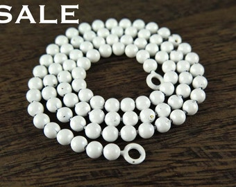 Vintage White Enamel Ball Chain Necklace Findings (2X) (17.5 inches) (C504) SALE - 50% off