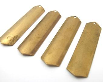 Vintage Brass Chevron Engraving Pendants (4X) (V237)