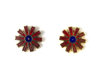 Vintage Red and Blue Enamel Flower Stud Earrings (4 pairs) (J556)