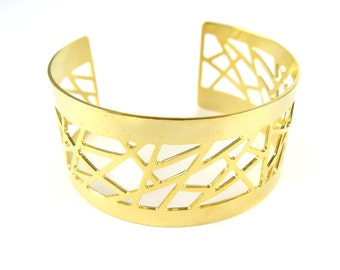 LAST - Gold Plated Geometric Design Cuff - (1x) (K704)