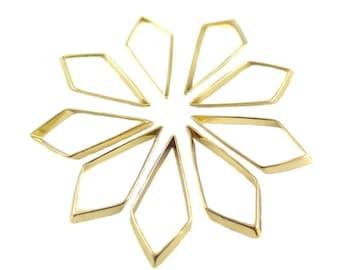 Gold Plated Geometric Diamond Drop Charms - (4x) (K102-C)