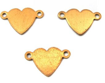 Vintage Red Brass Heart Engraving Charms (12X) (V333)
