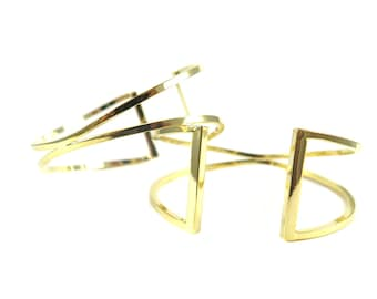 Gold Plated Geometric Wire Cuff  - (1x) (K731)