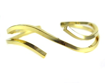 Gold Plated Geometric Square Wire Cuff  - (1x) (K728)