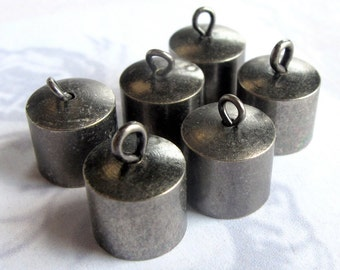 Vintage Antiqued Silver Plated Bead End Caps (6X) (F576)