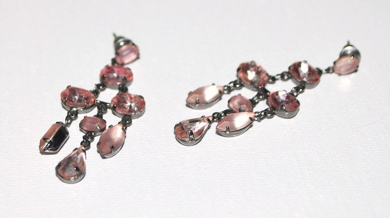 Vintage Rhinestone Earring Dangles Frosted Pink Milk Glass and Pink Clear Stones Brass 1960s Edwardian Celtic Shabby Chic Feminine Light ER