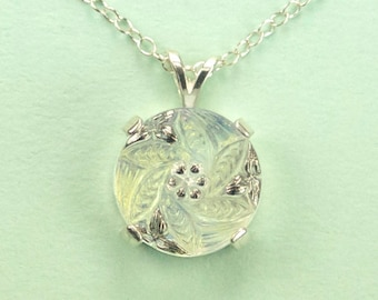 Silver and White Tone Czech Glass Button Necklace
