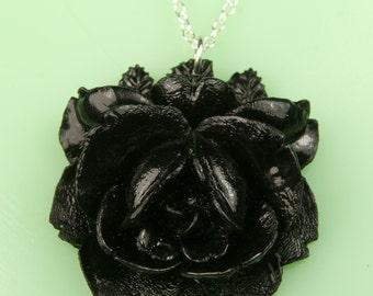 Vintage Large Black Rose Necklace