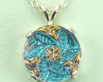 Blue and Gold Tone Czech Glass Button Necklace