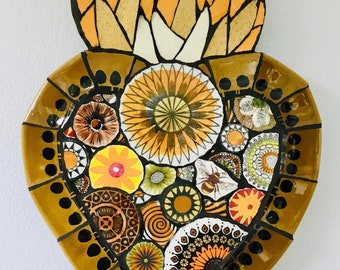 Mosaic Flaming Heart- Sunflower And Bee