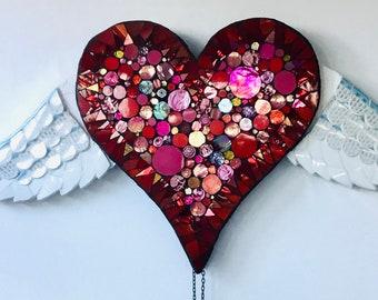 Mosaic Jumping Jack Winged Heart Automata